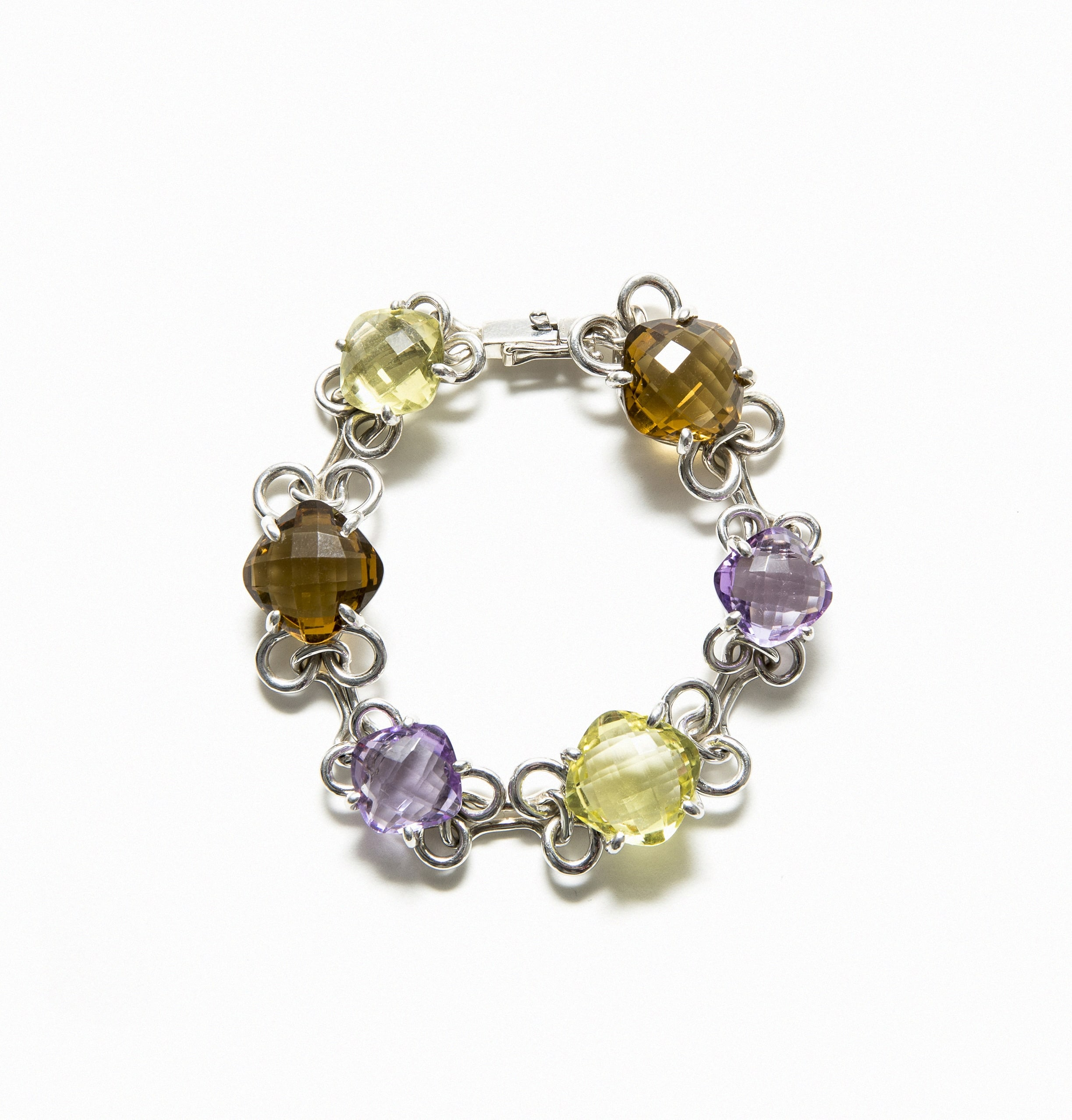 Articulated silver bracelet with Lemon, smoky and amethyst quartz