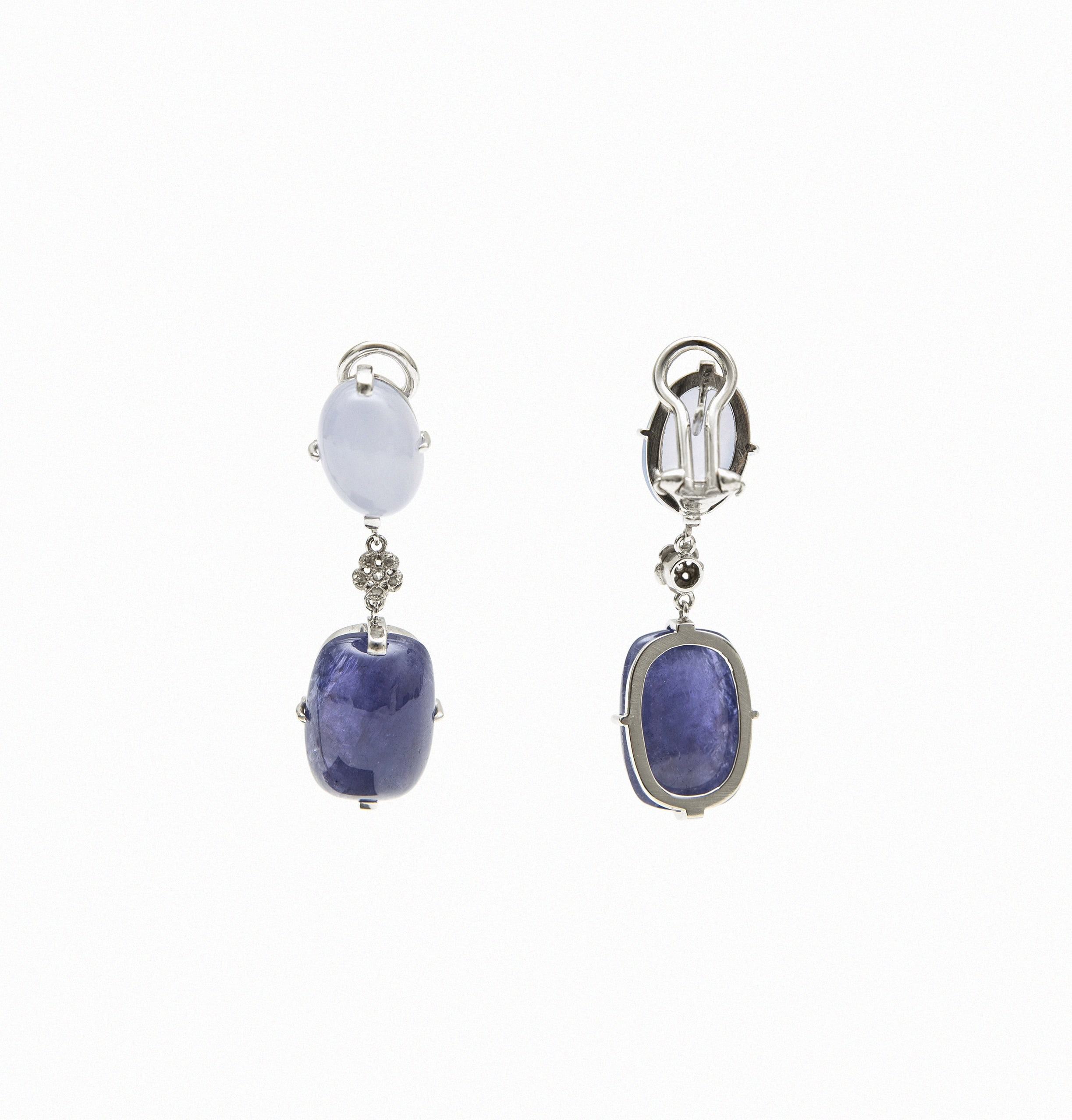 Drop earrings with faceted sapphires and smoky quartz